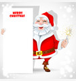 Cute Santa Claus holding banner and sparkler vector image vector image