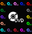 dvd icon sign Lots of colorful symbols for your vector image