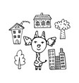 fashionable hand-drawn giraffe city dweller vector image vector image