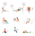 flat set people with laptops men and vector image