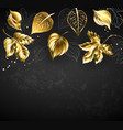 gold leaves on black background vector image vector image