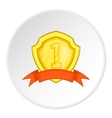 Golden shield for first place icon cartoon style vector image vector image