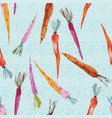 hand painted watercolor carrots on textured blue vector image vector image