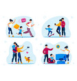 happy parenthood routines scenes flat set vector image vector image
