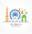 happy republic day of india poster design vector image vector image