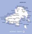 island of skiathos in greece white map and blue vector image