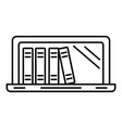 laptop book library icon outline style vector image vector image