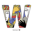 letter w with mask vector image vector image