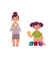 little girl going to school playing with blocks vector image