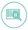 Magnifying glass and barcode line icon vector image vector image