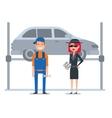 Mystery shopper woman in spy coat checks car vector image vector image