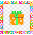 orange gift box wrapped with festive ribbon vector image vector image