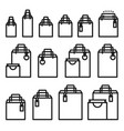 outline shopping bag icon set paper market bag vector image