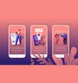 people getting visa mobile app page onboard screen vector image