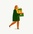 person carrying a christmas boxes merry christmas vector image