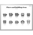 places and buildings icons line pack vector image vector image