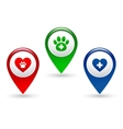 pointer with paw heart and veterinary cross vector image vector image