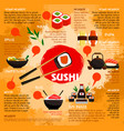 poster for sushi or seafood restaurant vector image vector image