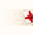 present white box with red ribbon holiday card vector image vector image