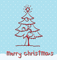 red christmas tree with snow vector image vector image