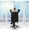 relaxing successful businessman and window vector image vector image
