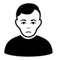 Sad Man Flat Icon vector image
