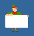 santa elf holding banner blank christmas helper vector image