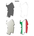 Sardinia blank detailed outline map set vector image vector image