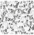 seamless black and white floral pattern with vector image