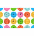 seamless pattern with colorful round wall clock vector image vector image