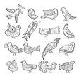 Set of hand drawn birds vector image vector image