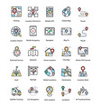 set of map and navigation flat icons vector image