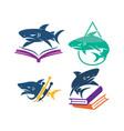 shark book technology water logo design set vector image vector image