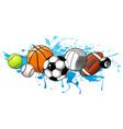 sport balls on water background vector image vector image