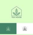 tea shop logo emblem green leaves into house vector image vector image