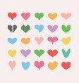 trendy and colorful cute and isolated hearts set vector image