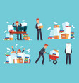 unorganized office papers businessman overwhelmed vector image