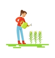 Woman Watering Corn Crops Farmer Working At The vector image vector image