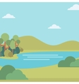 Background of landscape with hills and river vector image