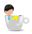Man Cartoon Relax Cup Idea vector image