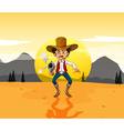 a cowboy holding a gun in middle desert vector image