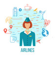 airport icons professions avatar icon vector image vector image