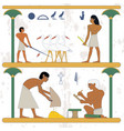 ancient egypt background peasant with grane and vector image vector image