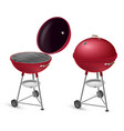 barbecue grill open and closed realistic set bbq vector image vector image