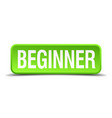 beginner green 3d realistic square isolated button vector image vector image