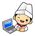 cook character and laptop computer isolated on vector image