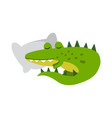 cute cartoon crocodile character sleeping on a vector image