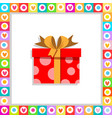 cute cartoon red gift box wrapped with festive vector image vector image