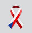 czech flag stripe ribbon on white background vector image
