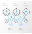 exploration icons colored set with location vector image